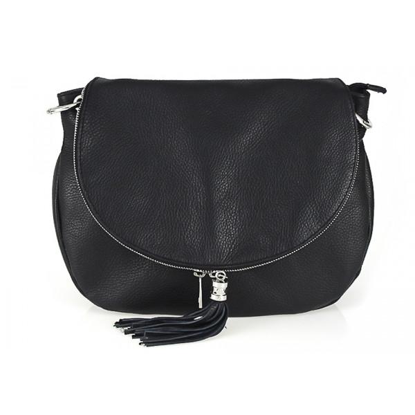 Kožená kabelka na rameno 411 čierna Made in Italy