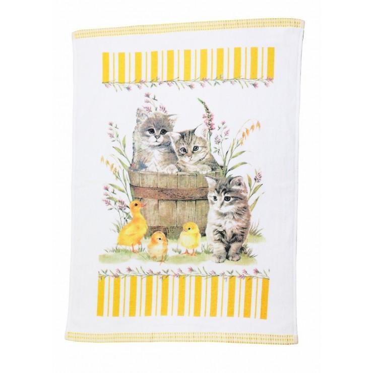 Bavlnená froté utierka Mačiatka a kačičky 50 x 70 cm