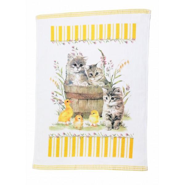 Stylish decorative kitchen towel Kittens and ducks 50 x 70 cm