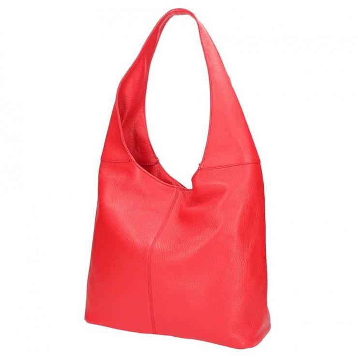 Červená kožená kabelka na rameno 5308