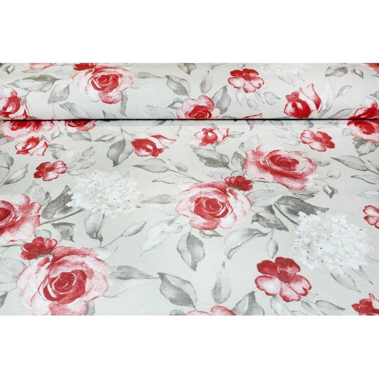 Fabric Cotton roses on a beige background