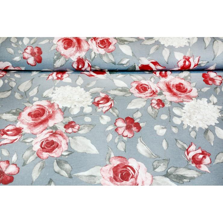 Dekoračná látka Bavlna ruže na šedom podklade
