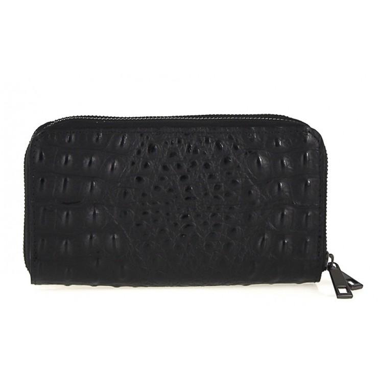 Kožená peňaženka kroko štýl 822 čierna