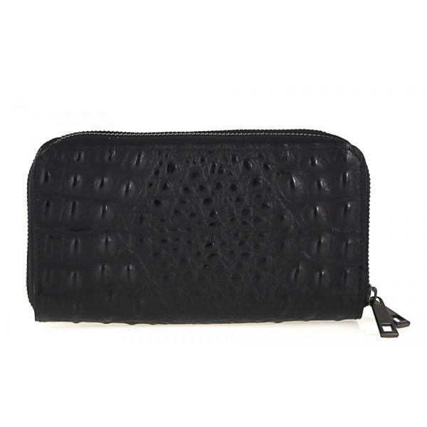 Kožená peňaženka kroko štýl 822 čierna Čierna