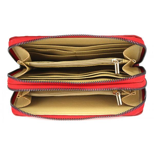 Kožená peňaženka kroko štýl 822 červená Červená