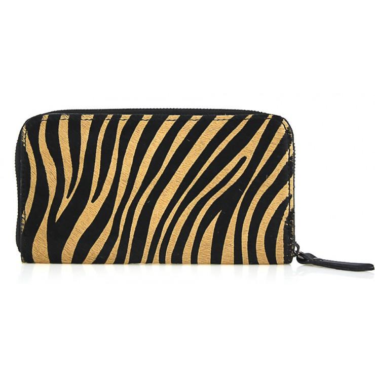 Kožená peňaženka na zips 509 tmavá zebra