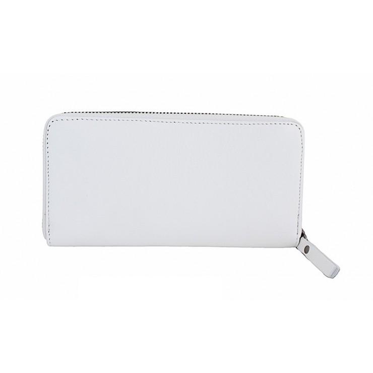 Kožená peňaženka na zips 595A biela