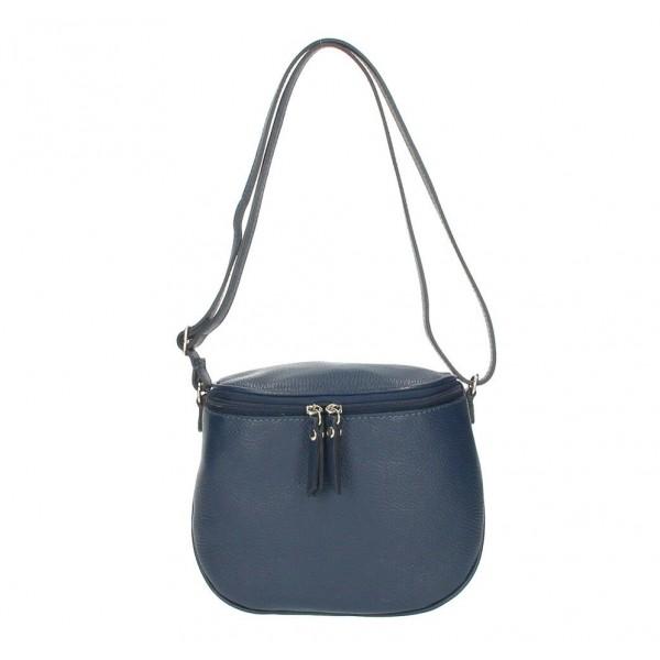 Dámska kožená kabelka na rameno 529 modrá MADE IN ITALY Modrá