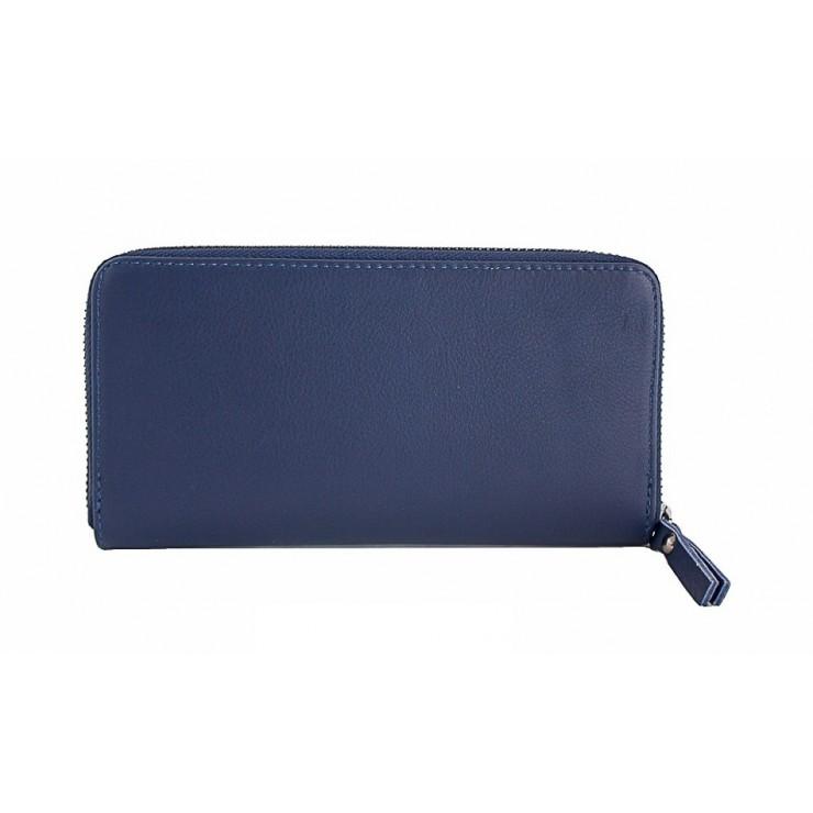 Kožená peňaženka na zips 595A modrá