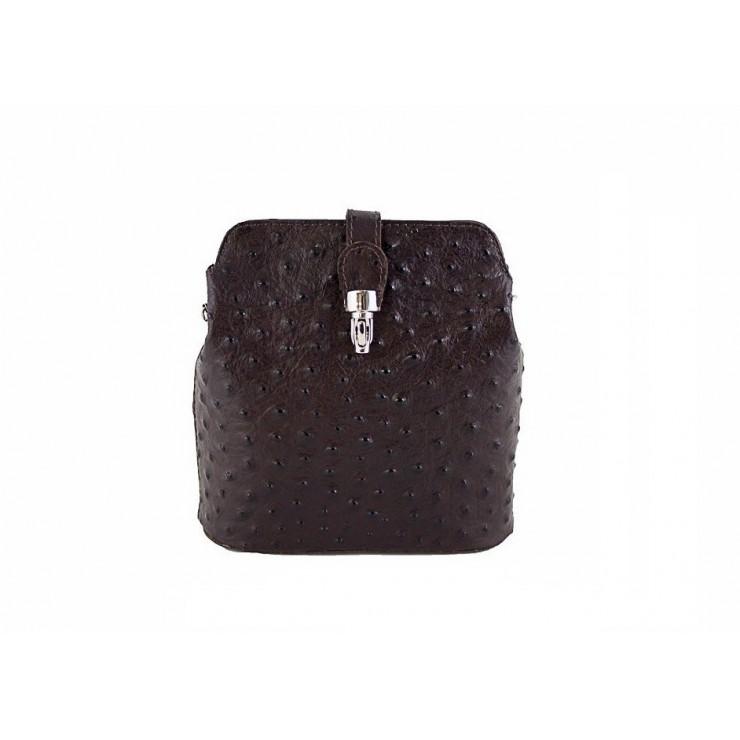 Genuine leather messenger bag 603C dark brown