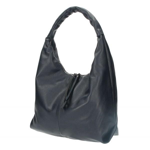 Kožená kabelka na rameno 537 tmavomodrá MADE IN ITALY Modrá