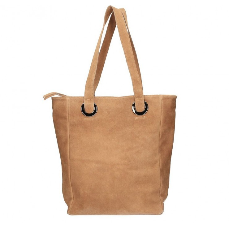 Genuine Leather Maxi Bag 524 cognac MADE IN ITALY