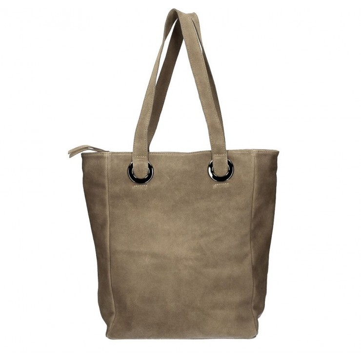 Genuine Leather Maxi Bag 524 dark taupe MADE IN ITALY