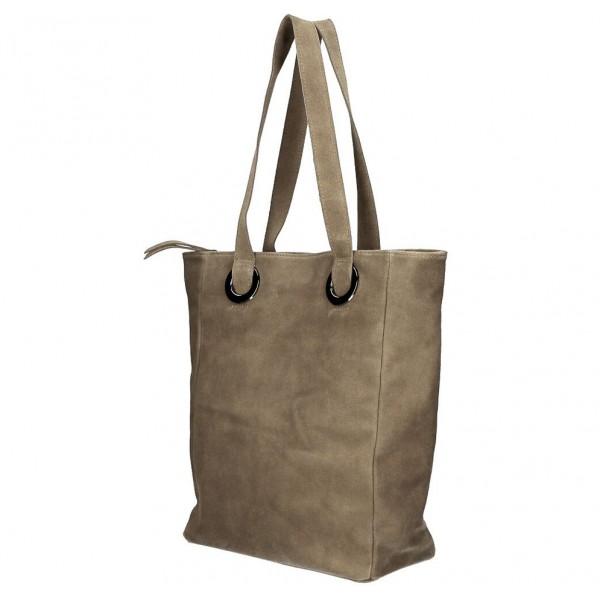 Kožená kabelka na rameno 524 tmavá šedohnedá MADE IN ITALY Šedohnedá
