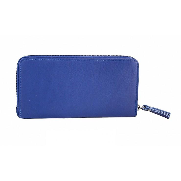 Kožená peňaženka na zips 595A azurovo modrá