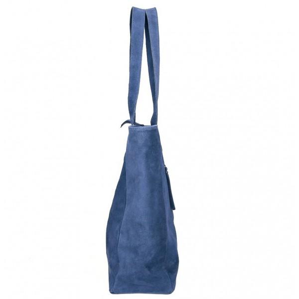 Kožená kabelka na rameno 524 jeans MADE IN ITALY Jeans