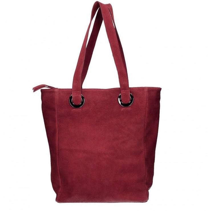 Kožená kabelka na rameno 524 tmavočervená MADE IN ITALY