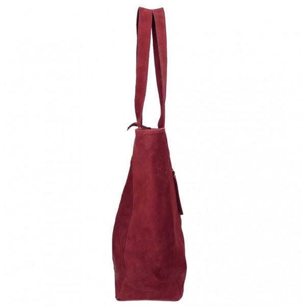 Kožená kabelka na rameno 524 tmavočervená MADE IN ITALY Červená