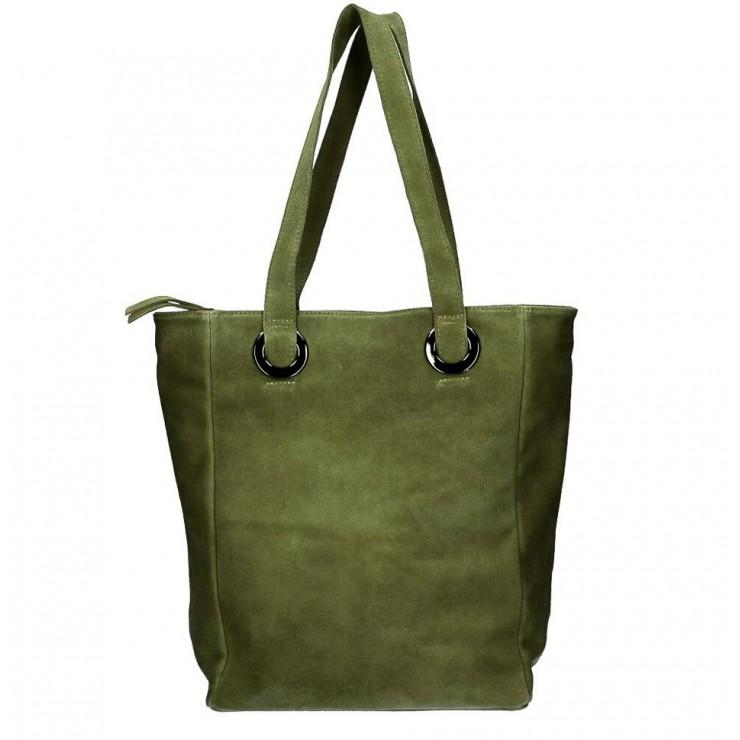 Kožená kabelka na rameno 524 vojensky zelená MADE IN ITALY