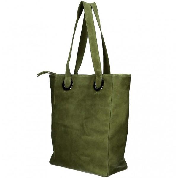 Kožená kabelka na rameno 524 vojensky zelená MADE IN ITALY Zelená
