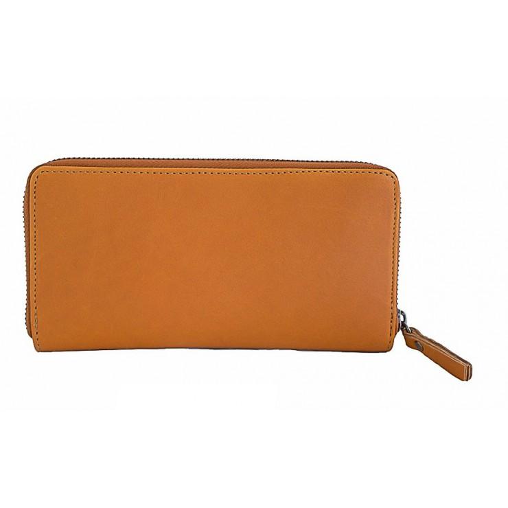 Kožená peňaženka na zips 595A koňaková