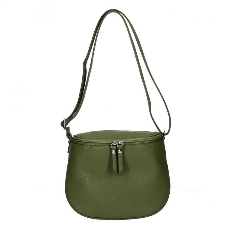 Dámska kožená kabelka na rameno 529 vojensky zelená MADE IN ITALY