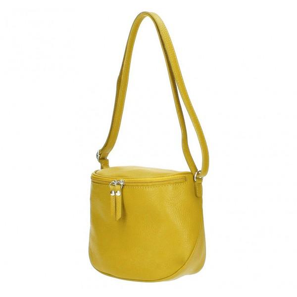 Dámska kožená kabelka na rameno 529 okrová MADE IN ITALY Okrová