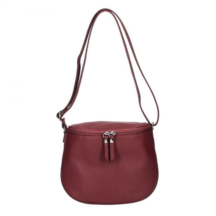 Dámska kožená kabelka na rameno 529 tmavočervená MADE IN ITALY