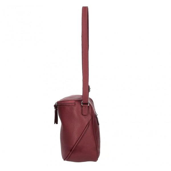 Dámska kožená kabelka na rameno 529 tmavočervená MADE IN ITALY Červená