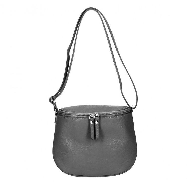 Dámska kožená kabelka na rameno 529 tmavošedá MADE IN ITALY