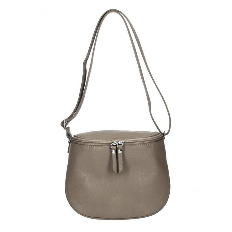 Dámska kožená kabelka na rameno 529 tmavá šedohnedá MADE IN ITALY