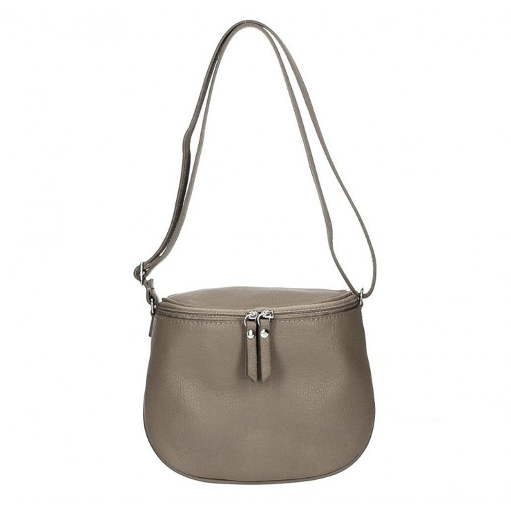 Genuine Leather Shoulder Bag 529 dark taupe MADE IN ITALY
