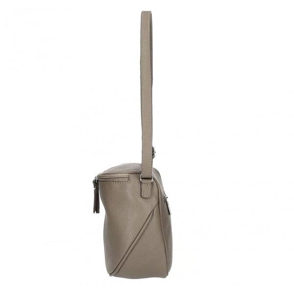 Dámska kožená kabelka na rameno 529 tmavá šedohnedá MADE IN ITALY Šedohnedá