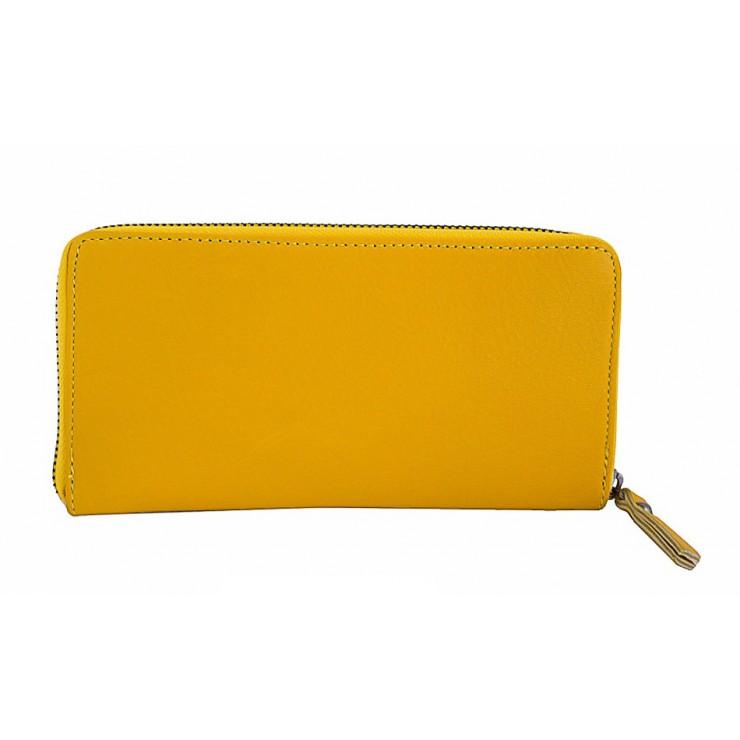 Kožená peňaženka na zips 595A žltá