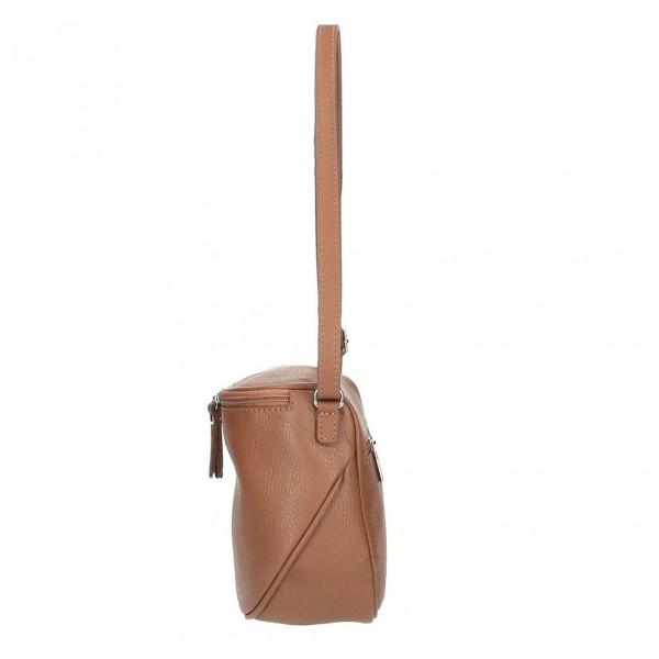 Dámska kožená kabelka na rameno 529 koňaková MADE IN ITALY Koňak