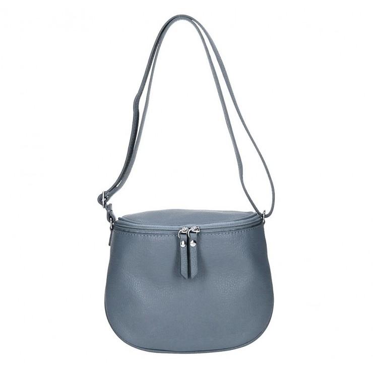 Genuine Leather Shoulder Bag 529 azure blue MADE IN ITALY