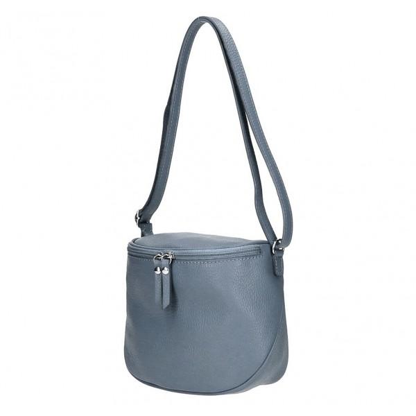 Dámska kožená kabelka na rameno 529 blankytne modrá MADE IN ITALY Blankytna modrá