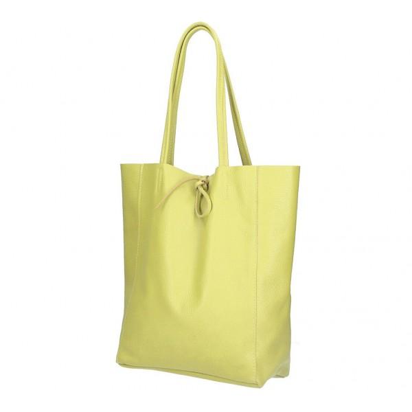 Kožená shopper kabelka 396 žltá MADE IN ITALY Žltá