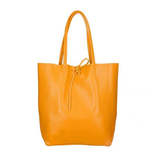 Kožená shopper kabelka 396 oranžová MADE IN ITALY Oranžová