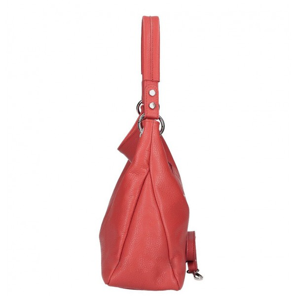 Kožená kabelka 535 červená Made in Italy Červená
