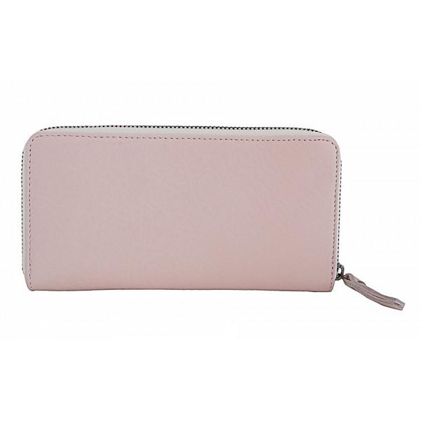 Kožená peňaženka na zips 595A ružová Ružová
