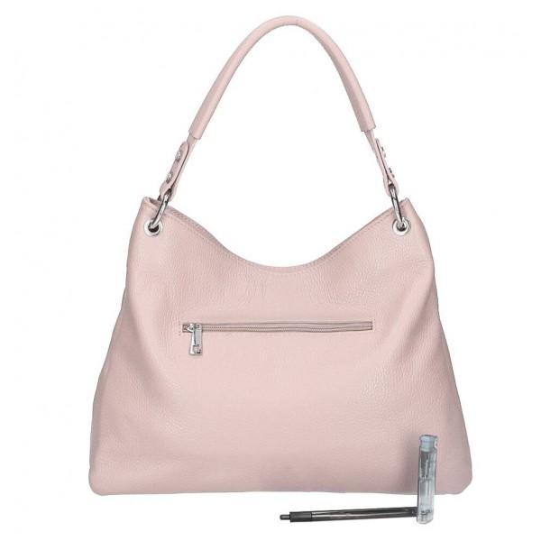 Kožená kabelka 535 pudrovo ružová Made in Italy Pudrová ružová