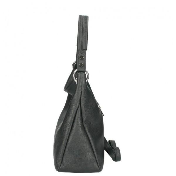 Kožená kabelka 535 čierna Made in Italy Čierna