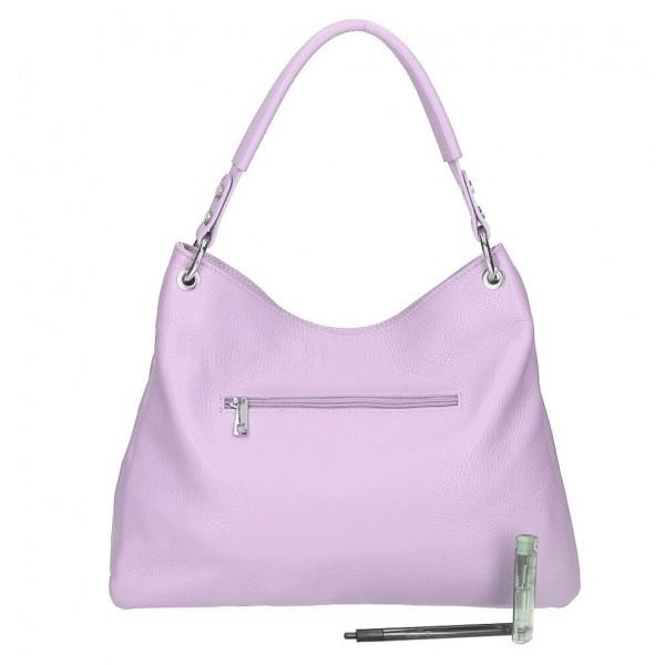 Kožená kabelka 535 fialová Made in Italy Fialová