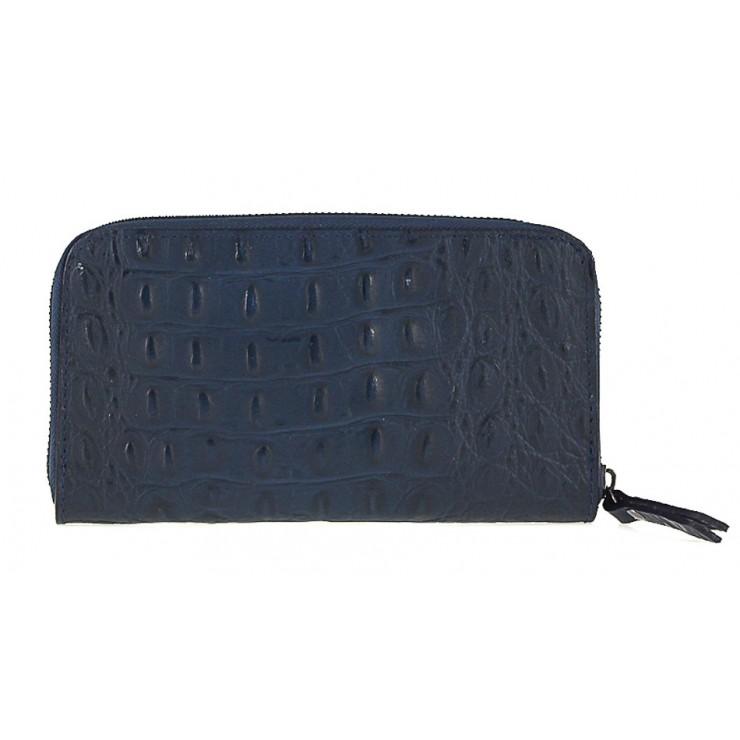 Kožená peňaženka na zips kroko štýl  820 modrá