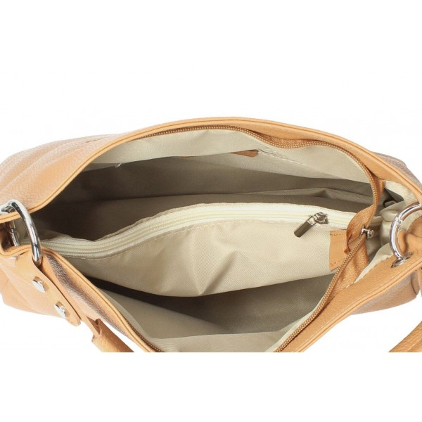 Kožená kabelka 535 béžová Made in Italy Béžová