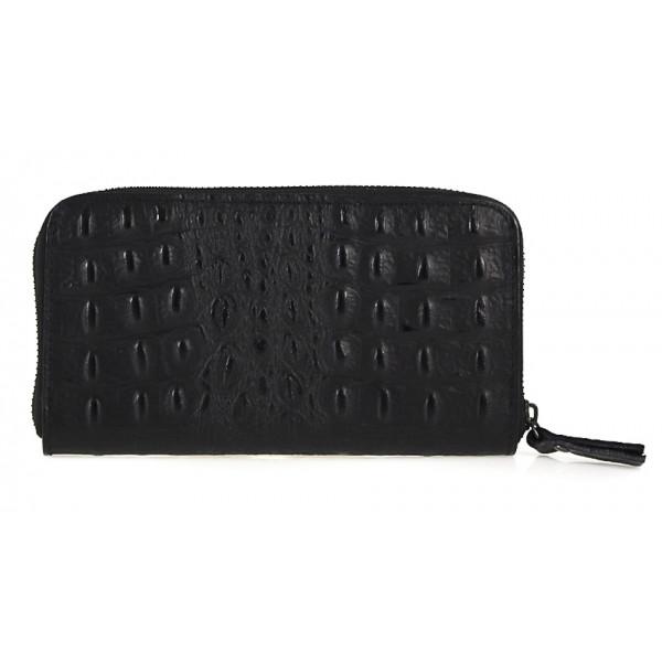 Kožená peňaženka na zips kroko štýl  820 čierna Čierna