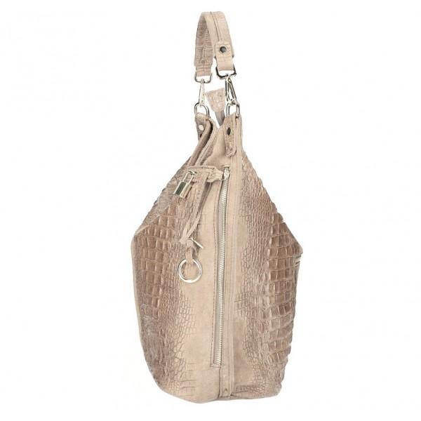 Kožená kabelka potlač krokodýl 1311 šedohnedá Šedohnedá