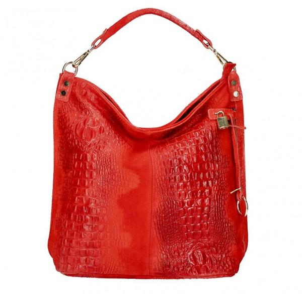 Kožená kabelka potlač krokodýl 1311 červená Červená
