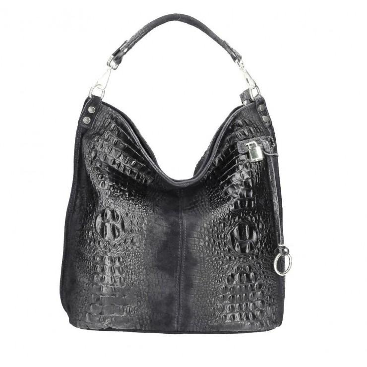 Genuine Leather Handbag Crocodile stamp 1311 black
